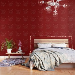 Merry Christmas- Silent Night- Typography and stars  on festive red Wallpaper