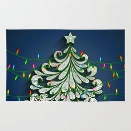 Christmas tree with colorful lights Rug