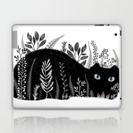 Garden Cat Black And White Laptop & iPad Skin