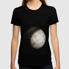 Battered Baseball in Black and White T-shirt