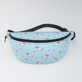Cute Dachshund Unicorn + Hearts Pattern (Blue) | Adorable Sausage dog Unicorns Fanny Pack