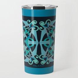 Support Love Mandala x 2 - Teal/Black Travel Mug