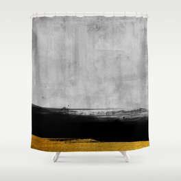 Black and Gold grunge stripes on modern grey concrete abstract backround I - Stripe - Striped Shower Curtain