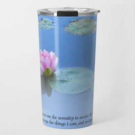 Serenity Prayer Pink Water Lily Travel Mug