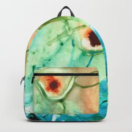 Blue And Yellow Abstract Art - Life Goes On - Sharon Cummings Backpack
