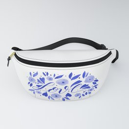 Love and flowers - electric blue Fanny Pack