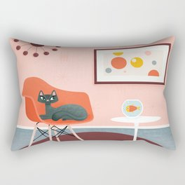 Midcentury Coral Decor With Black Cat And Gold Fish Rectangular Pillow