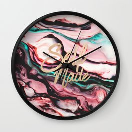 Self Made Typography Quote Pint Teal Marble Paint Wall Clock