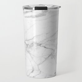 White & Gray Marble Texture Print Travel Mug