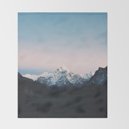 Blue & Pink Himalaya Mountains Throw Blanket