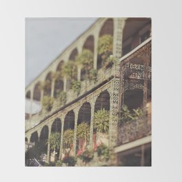 New Orleans Royal Street Balconies Throw Blanket