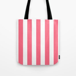Wild watermelon pink - solid color - white vertical lines pattern Tote Bag