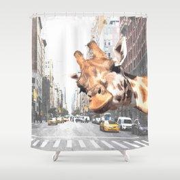 Selfie Giraffe In New York Shower Curtain