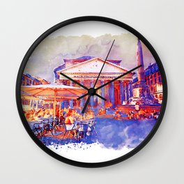 The Pantheon Rome Watercolor Streetscape Wall Clock