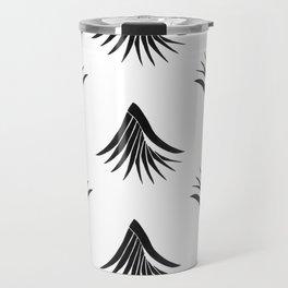 Pandanus Leaf Pattern - Black Travel Mug