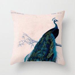 Vintage peacock bird print colorful feathers 1800s antique art nouveau deco nature book plate Throw Pillow