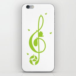 Treble clef and birds iPhone Skin