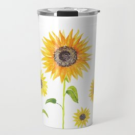 Sunflowers Watercolor Painting Travel Mug
