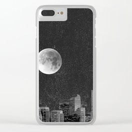 Blood Moon Over Denver Colorado in Black and White Clear iPhone Case
