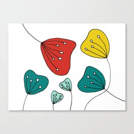 Quirky Hand Drawn Red, Yellow and Teal Flowers by Emma Freeman Designs Canvas Print