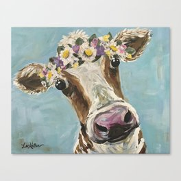 Flower Crown Cow Art, Cute Cow With Flower Crown Canvas Print