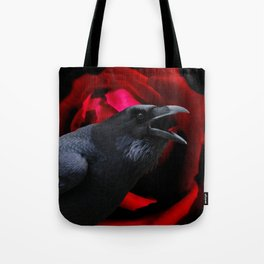 Surreal Crow against Red Rose A590 Tote Bag