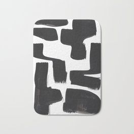 Black And White Minimalist Mid Century Abstract Ink Art Abnormal Organic Shapes Tribal Bath Mat