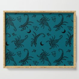 Scorpio Moon on Teal Serving Tray