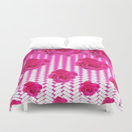 ABSTRACTED CERISE PINK ROSES GARDEN ART Duvet Cover