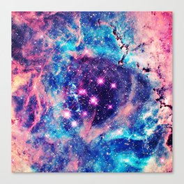 Trendy Pastel Pink Blue Nebula Girly Stars Galaxy Canvas Print