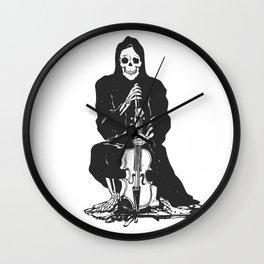 Violinist skull - grim reaper - cartoon skeleton - halloween illustration Wall Clock