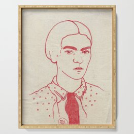Frida in red Serving Tray