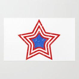 Patriotic Vintage Star Blue Center Red and White Stripes Rug