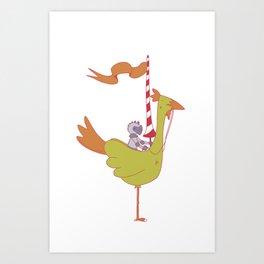Chicken  Mount Art Print