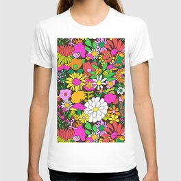 60's Groovy Garden in Chocolate Brown T-shirt