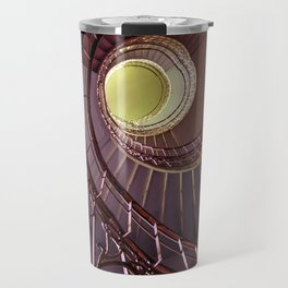 Spiral staircase in red and golden tones Travel Mug
