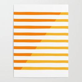 Beach Stripes Orange Yellow Poster