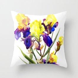 Garden Irises Floral Artwork Yellow Purple Blue Floral design Throw Pillow
