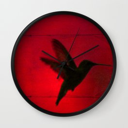 Hummingbird Behind the Red Blinds by CheyAnne Sexton Wall Clock