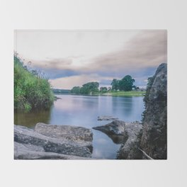 Long Exposure Photo of The River Tay in Perth Scotland Throw Blanket