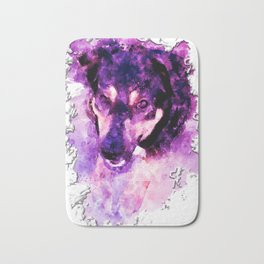 dog 3 perfect purple Bath Mat