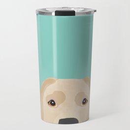 Yellow Lab dog portrait labrador retriever dog art pet friendly Travel Mug