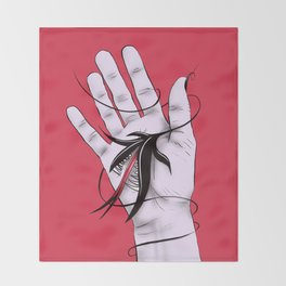 Disturbing Itch - Hand Biting Flower Monster Throw Blanket