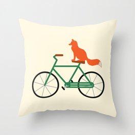 Fox Riding Bike Throw Pillow