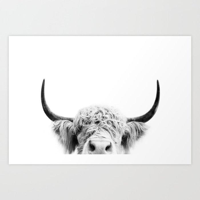 Peeking Cow BW Kunstdrucke