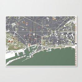 Barcelona city map engraving Canvas Print