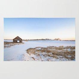 Snowy Barn Landscape Rug