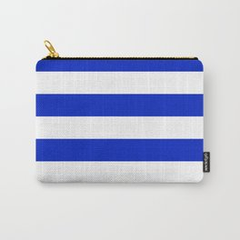 Cobalt Blue and White Wide Cabana Tent Stripe Carry-All Pouch