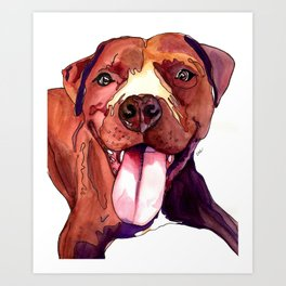 Happy Pit Bull Art Print