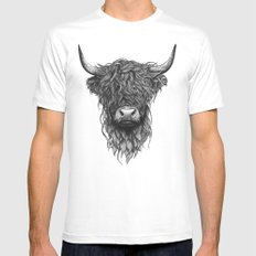 Highland Cattle LARGE White Mens Fitted Tee
